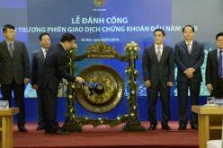 Bộ trưởng Đinh Tiến Dũng đánh cồng khai trương phiên giao dịch đầu năm 2018 tại Sở GDCK Hà Nội
