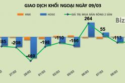 Phiên 9/3: Khối ngoại bán ròng gần 96 tỷ đồng