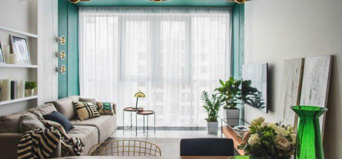 Phối hợp hai màu vàng xanh khiến căn hộ trở nên mát mẻ
