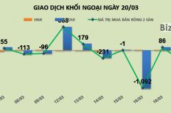 Phiên 20/3: Chốt lời mạnh chứng chỉ quỹ E1VFVN30 và DIG, khối ngoại rút ròng 326 tỷ đồng