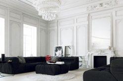 Phòng khách với hai tông màu đen-trắng ấn tượng