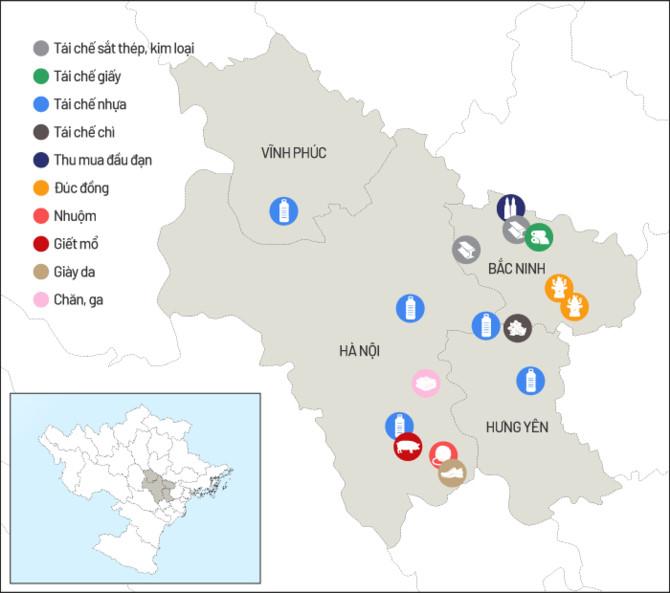 Ít nhất 16 làng nghề tái chế có nguy cơ ô nhiễm cao bao quanh Hà Nội. Đồ hoạ: Tiến Thành.