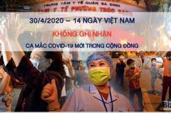 Sáng 30/4, 14 ngày Việt Nam không ghi nhận ca nhiễm COVID-19 mới trong cộng đồng