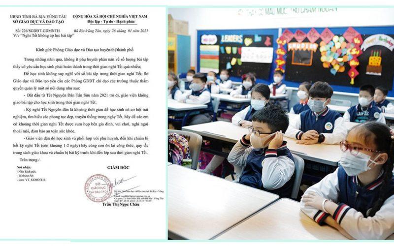 """Công văn """"Nghỉ tết không áp lực bài tập"""" của Sở Giáo dục Bà Rịa – Vũng Tàu được dư luận nức lòng ủng hộ"""